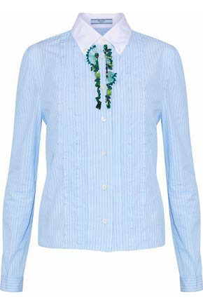 PRADA Embellished striped cotton-poplin shirt