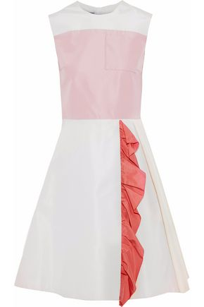 PRADA Ruffle-trimmed color-block silk-faille dress
