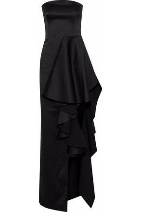 SOLACE LONDON Aryana strapless ruffled duchesse satin gown