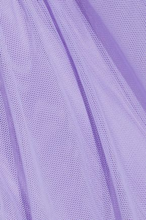 VERSACE Wrap-effect embellished tulle-paneled cady dress