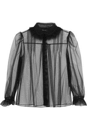 SIMONE ROCHA Ruffle-trimmed embellished tulle blouse