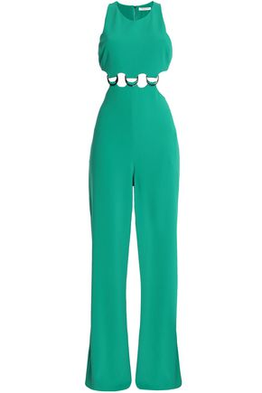 HALSTON HERITAGE Cutout ring-embellished crepe jumpsuit