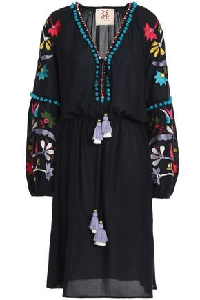 FIGUE Victoria embellished cotton-blend gauze dress