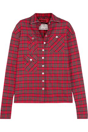 RONALD VAN DER KEMP Checked cotton-flannel shirt
