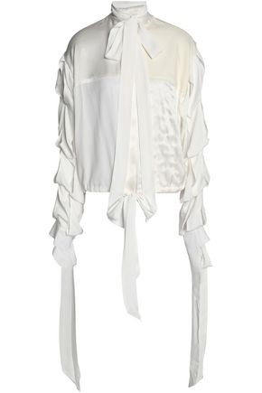 J.W.ANDERSON Pussy-bow jersey-paneled crepe blouse