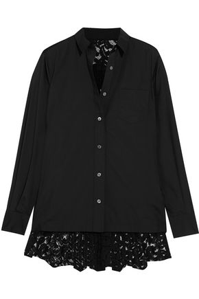 SACAI Lace-paneled poplin shirt