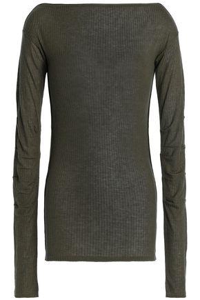 RAG & BONE Satin-trimmed ribbed-knit jersey top