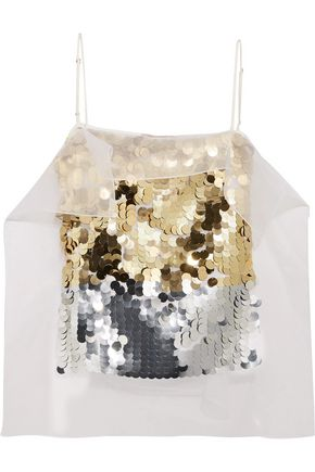 CHRISTOPHER KANE Sequin-paneled satin-crepe top