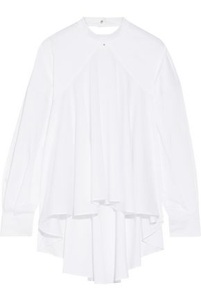 ESTEBAN CORTAZAR Open-back gathered cotton-blend poplin blouse