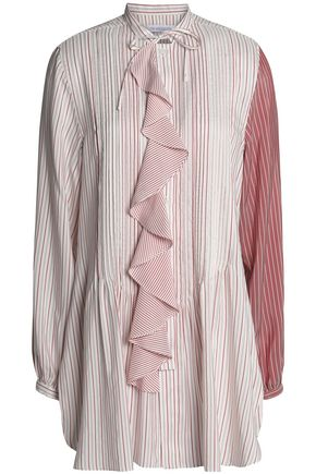 J.W.ANDERSON Ruffle-trimmed pintucked striped silk top