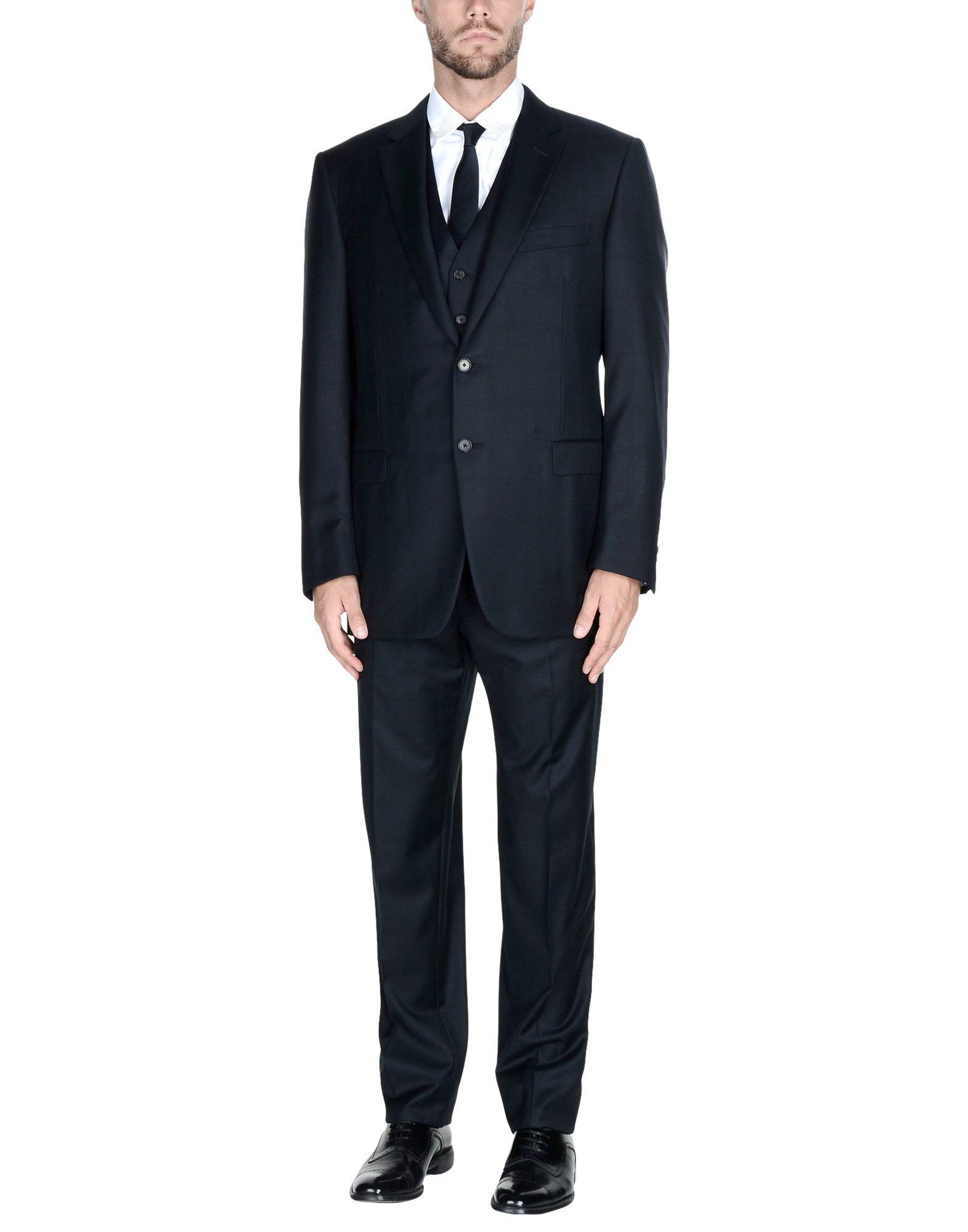 《送料無料》LANVIN メンズ スーツ ダークブルー 54 ウール 100%