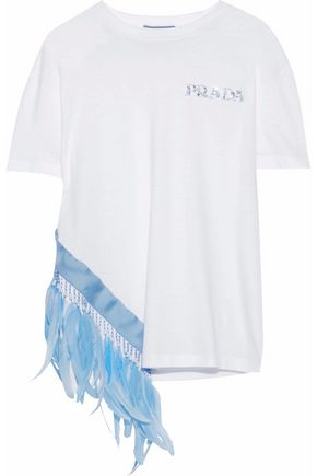 PRADA Feather-trimmed embellished cotton-jersey T-shirt