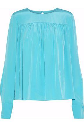 DIANE VON FURSTENBERG Gathered washed-silk blouse