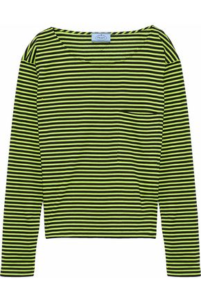 PRADA Neon striped cotton-jersey top