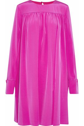 DIANE VON FURSTENBERG Gathered washed-silk mini dress