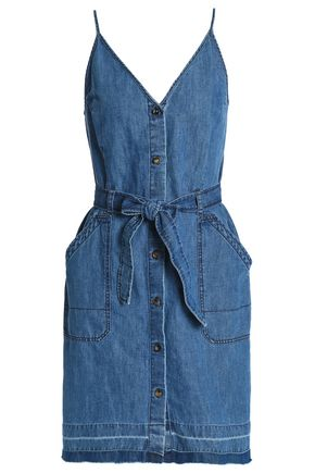 J BRAND Carmela cotton and linen-blend chambray slip dress
