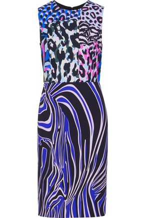 VERSACE Printed cady dress