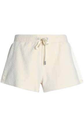 RAG & BONE Satin-paneled cotton-terry shorts