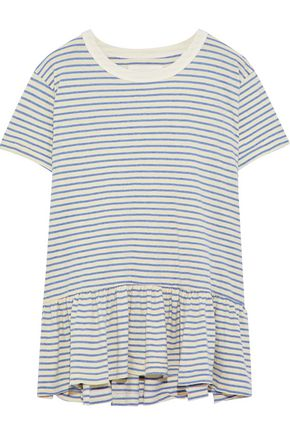 THE GREAT. Striped cotton-blend jersey peplum T-shirt