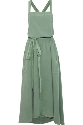 THE GREAT. The Apron belted washed cotton-poplin midi dress