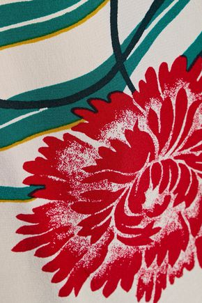 DIANE VON FURSTENBERG Satin-paneled floral-print silk crepe de chine wrap blouse