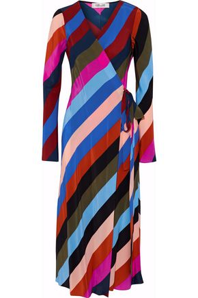 DIANE VON FURSTENBERG Striped silk crepe de chine midi wrap dress