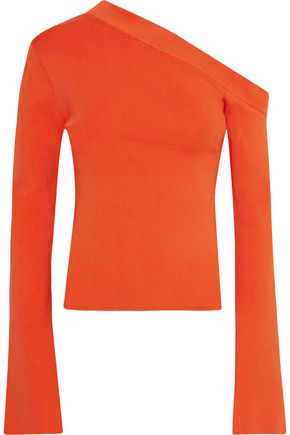 SOLACE LONDON Mariette asymmetric stretch-knit top