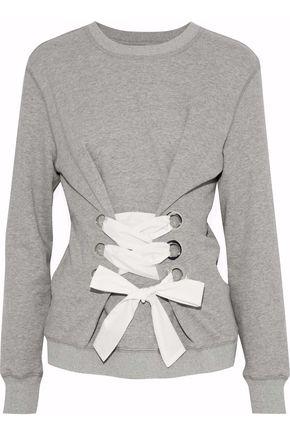 DEREK LAM 10 CROSBY Lace-up cotton-blend terry sweatshirt