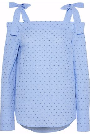 DEREK LAM 10 CROSBY Cold-shoulder gingham fil coupé cotton top