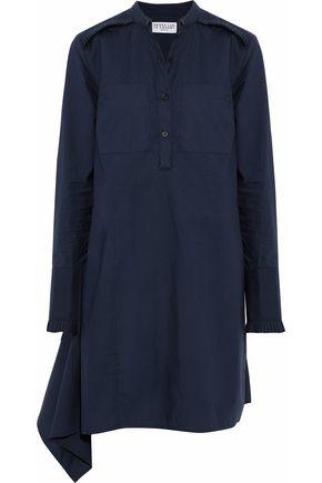 DEREK LAM 10 CROSBY Asymmetric pleated cotton-poplin mini shirt dress
