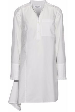 DEREK LAM 10 CROSBY Asymmetric pleated cotton-poplin mini shirt dress