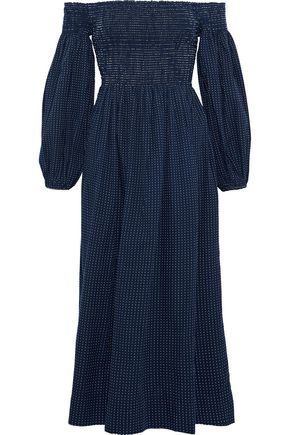 THE GREAT. The Carnival off-the-shoulder Swiss-dot cotton-poplin dress