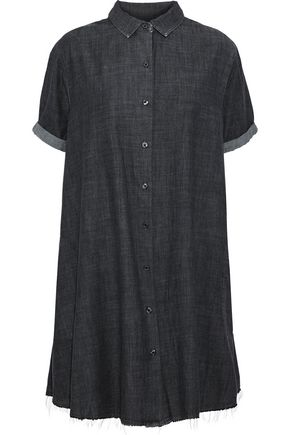 THE GREAT. The Bias frayed cotton-chambray mini shirt dress