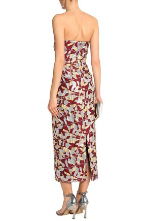 J.MENDEL Strapless metallic silk-blend cloqué gown