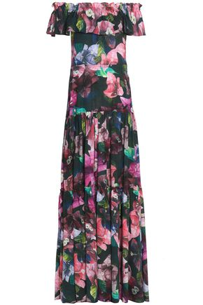 ISOLDA Off-the-shoulder gathered printed silk gown