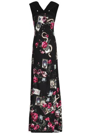 ROBERTO CAVALLI Twist-front printed jersey gown