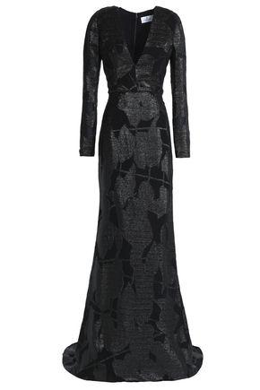 J.MENDEL Metallic silk devoré-velvet gown