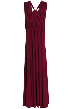 ROBERTO CAVALLI Embellished cutout crepe gown
