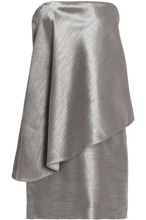 HALSTON HERITAGE Strapless layered metallic jacquard mini dress