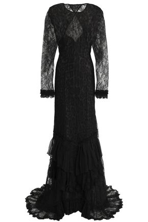 ROBERTO CAVALLI Open-back tiered lace gown