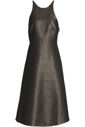 HALSTON HERITAGE Bow-embellished metallic crepe dress