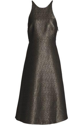 HALSTON HERITAGE Bow-embellished metallic crepe dress