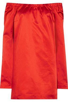 ISA ARFEN La Femme off-the-shoulder cotton-blend satin mini dress