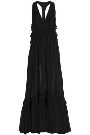 ROBERTO CAVALLI Picot-trimmed tiered cotton-gauze gown