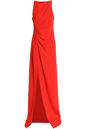 HALSTON HERITAGE Ruched crepe gown