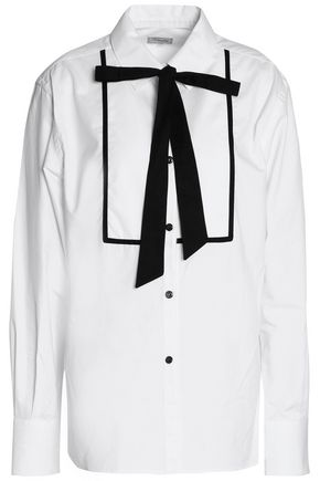 TEMPERLEY LONDON Pussy-bow cotton-poplin shirt