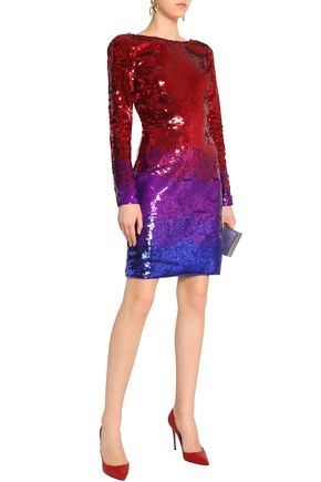 ROBERTO CAVALLI Lace-trimmed sequined silk mini dress