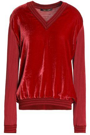 ROBERTO CAVALLI Metallic velvet-paneled stretch-knit top