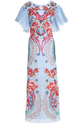 TEMPERLEY LONDON Organza-paneled pleated embroidered crepe midi dress