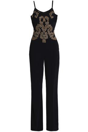 ROBERTO CAVALLI Lace-trimmed embellished crepe jumpsuit